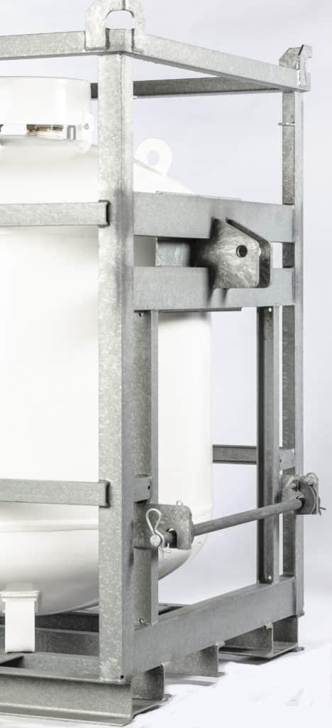 Mobiler weißer Gastank mit Aufnahme Rahmen für Gabelstapler oder Traktor