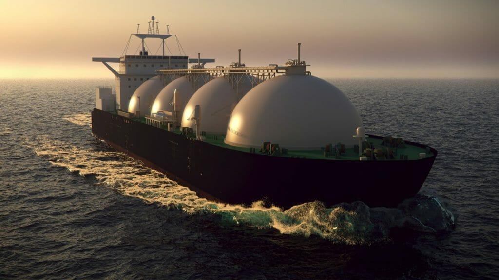 LNG Tanke auf dem Weg zum LNG Terminal